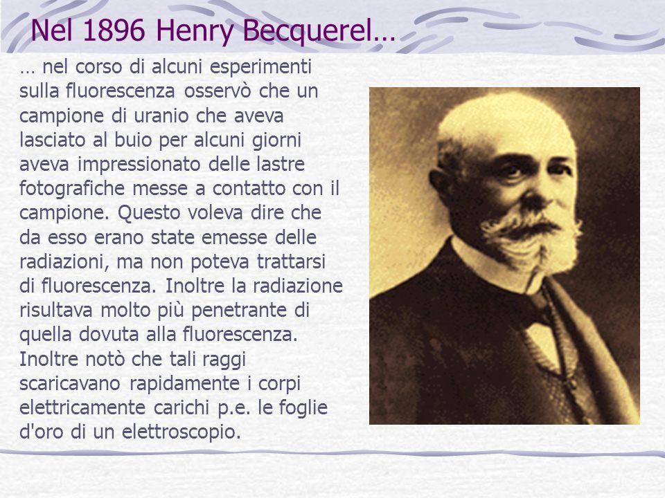 Nel 1896 Henry Becquerel…