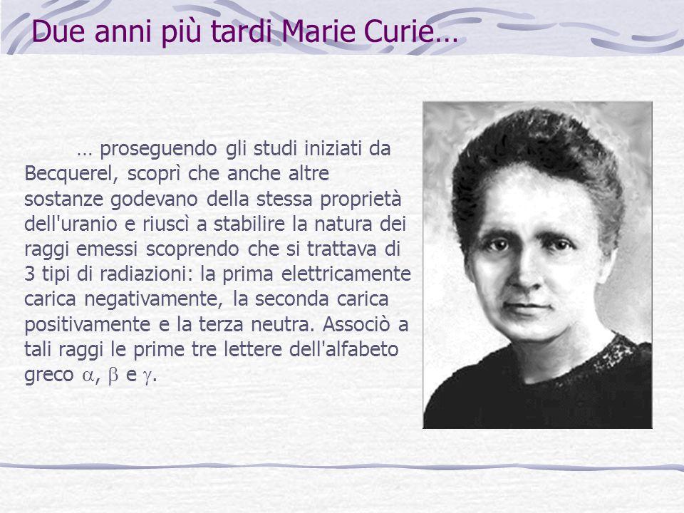 Due anni più tardi Marie Curie…