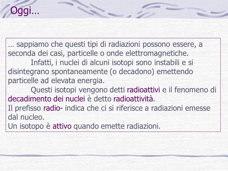 Oggi… … sappiamo che questi tipi di radiazioni possono essere, a seconda dei casi, particelle o onde elettromagnetiche.
