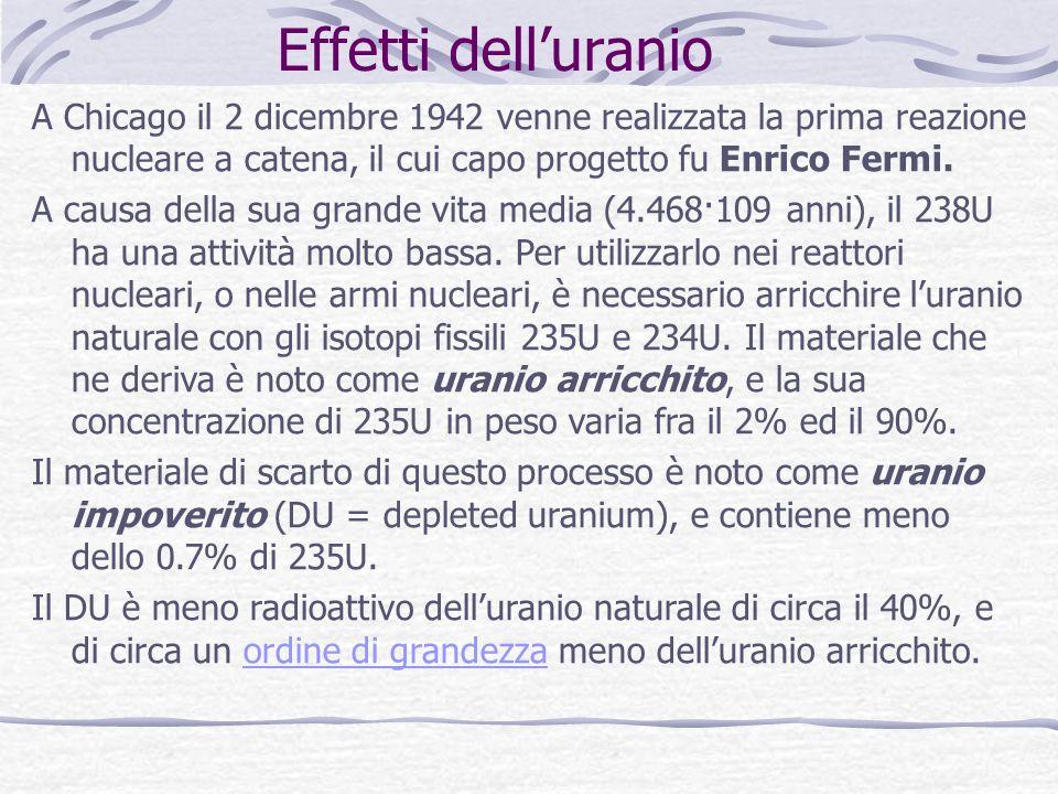 Effetti dell'uranio A Chicago il 2 dicembre 1942 venne realizzata la prima reazione nucleare a catena, il cui capo progetto fu Enrico Fermi.