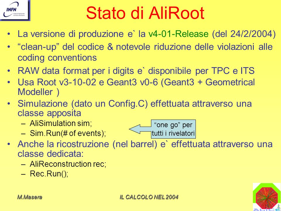 Stato di AliRoot La versione di produzione e` la v4-01-Release (del 24/2/2004)