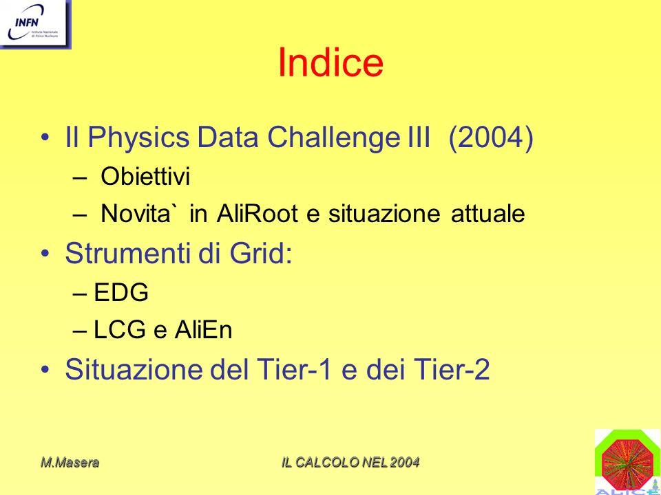 Indice Il Physics Data Challenge III (2004) Strumenti di Grid: