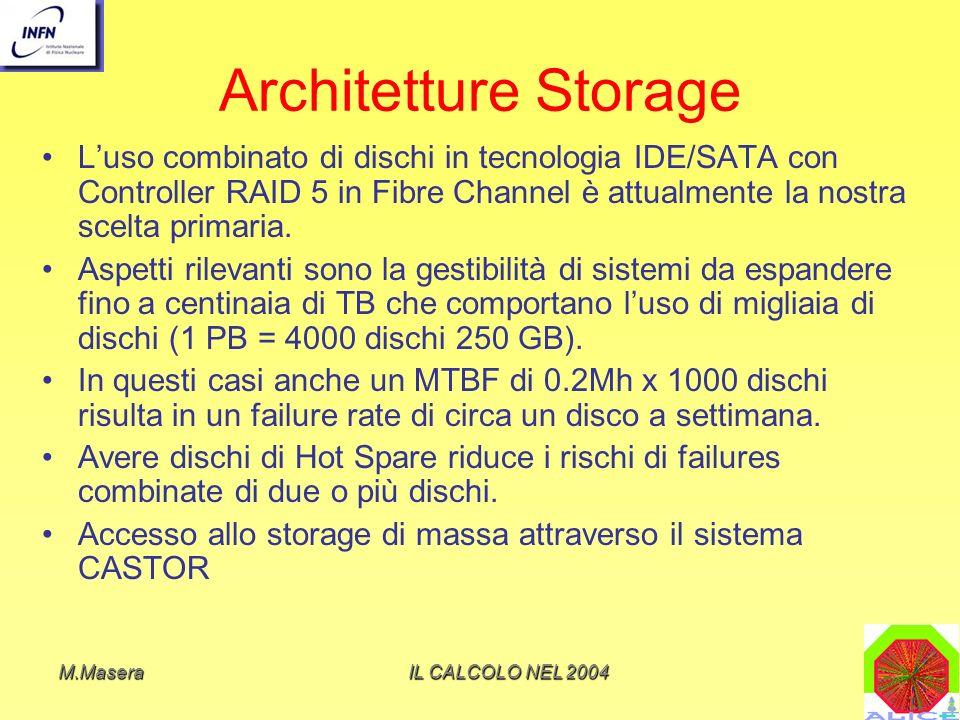 Architetture Storage L'uso combinato di dischi in tecnologia IDE/SATA con Controller RAID 5 in Fibre Channel è attualmente la nostra scelta primaria.