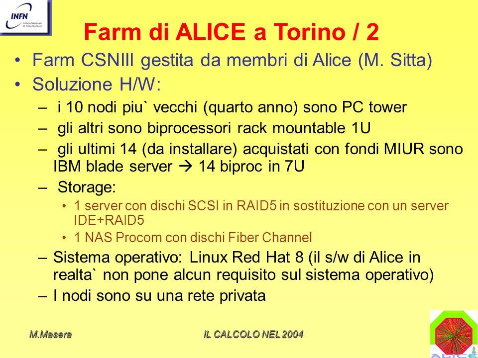 Farm di ALICE a Torino / 2 Farm CSNIII gestita da membri di Alice (M. Sitta) Soluzione H/W: i 10 nodi piu` vecchi (quarto anno) sono PC tower.