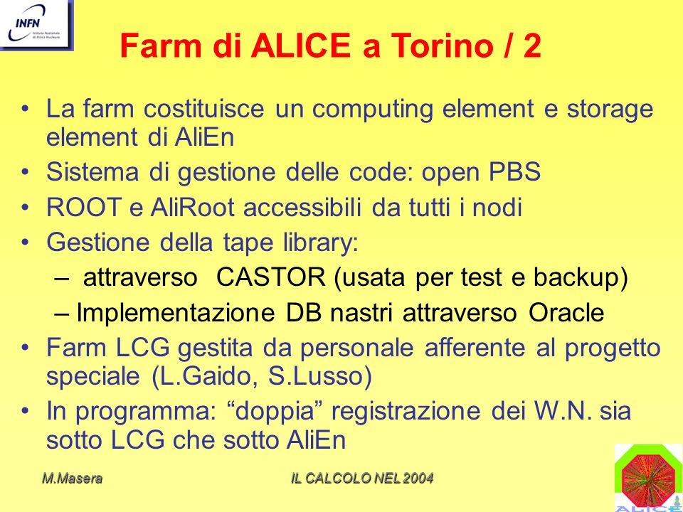 Farm di ALICE a Torino / 2 La farm costituisce un computing element e storage element di AliEn. Sistema di gestione delle code: open PBS.