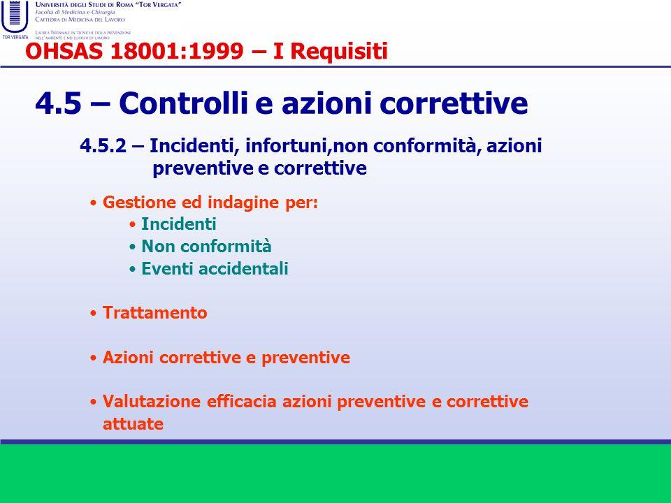4.5 – Controlli e azioni correttive