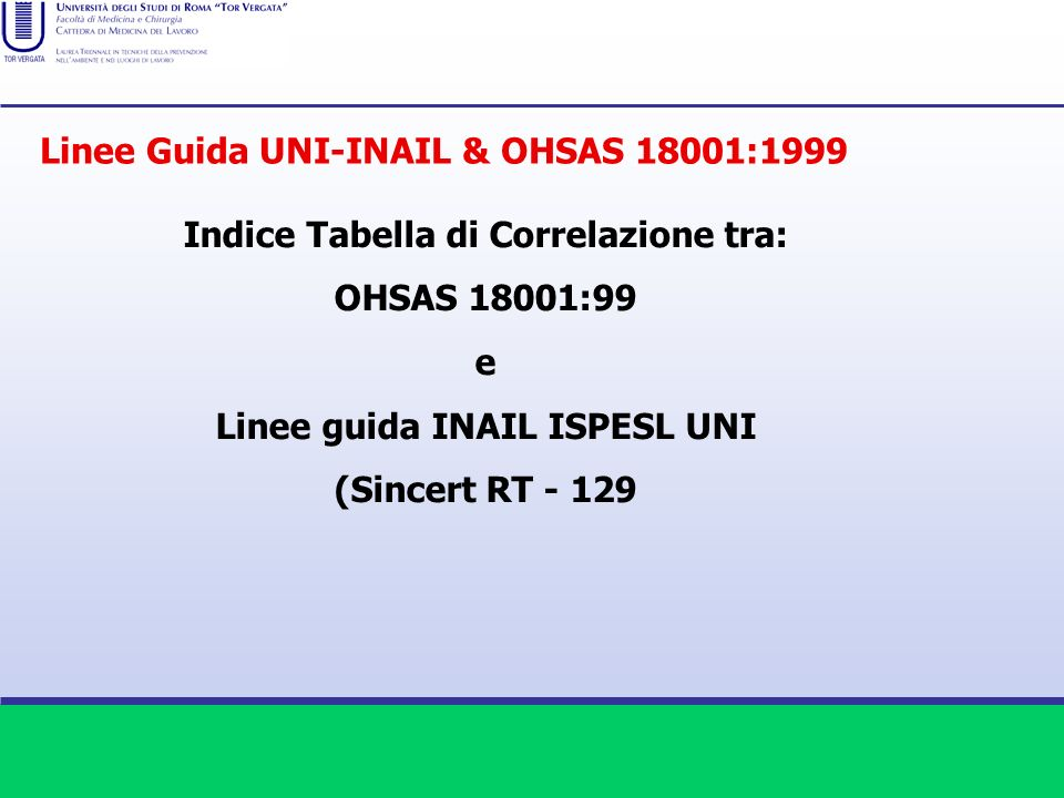 Indice Tabella di Correlazione tra: Linee guida INAIL ISPESL UNI