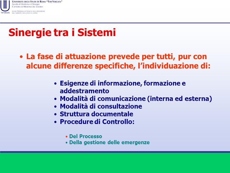 Sinergie tra i Sistemi La fase di attuazione prevede per tutti, pur con alcune differenze specifiche, l'individuazione di: