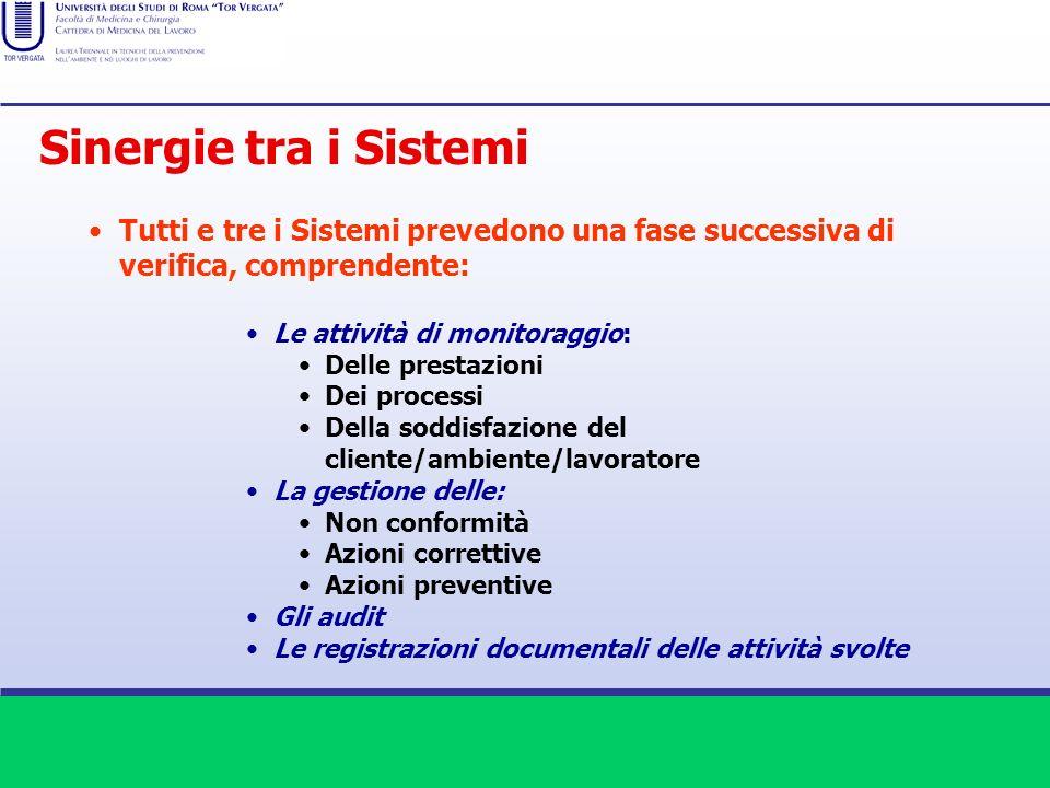 Sinergie tra i Sistemi Tutti e tre i Sistemi prevedono una fase successiva di verifica, comprendente: