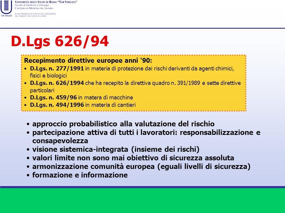 D.Lgs 626/94 approccio probabilistico alla valutazione del rischio