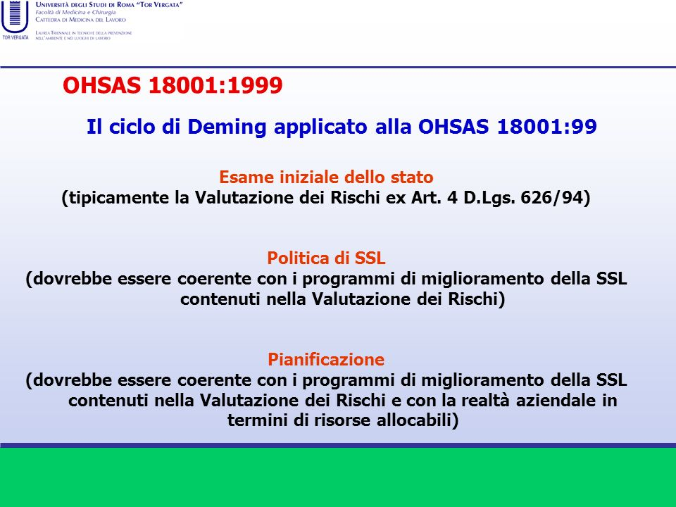 OHSAS 18001:1999 Il ciclo di Deming applicato alla OHSAS 18001:99