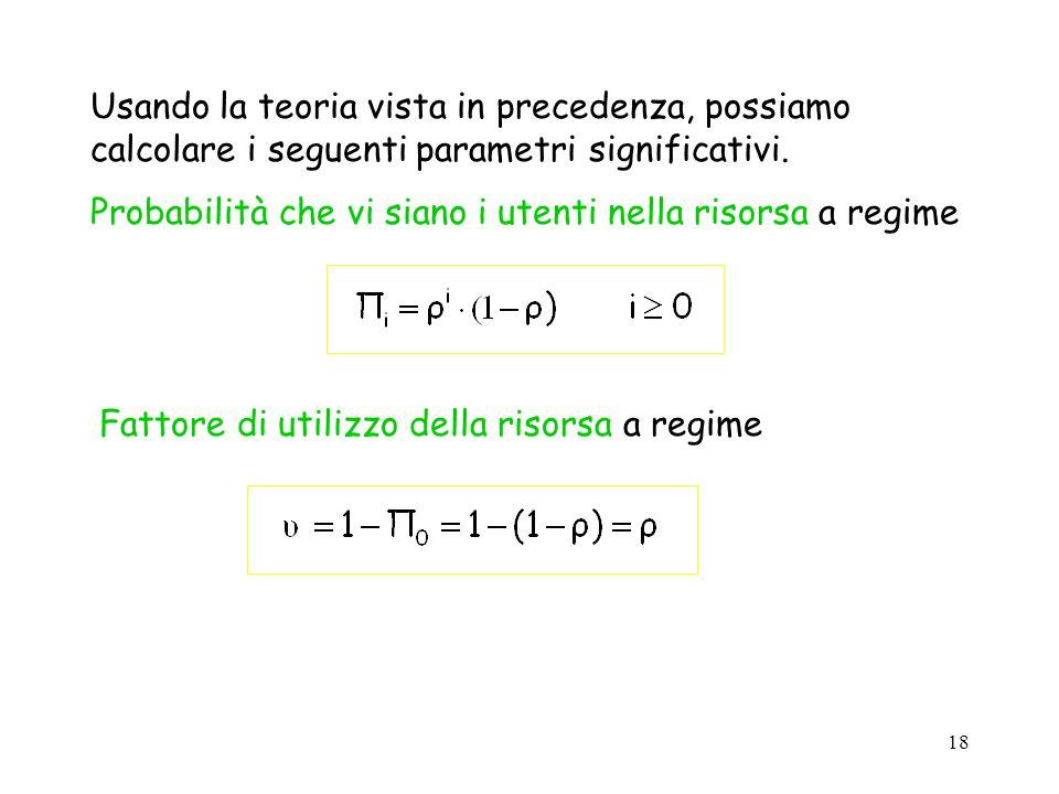 Usando la teoria vista in precedenza, possiamo calcolare i seguenti parametri significativi.