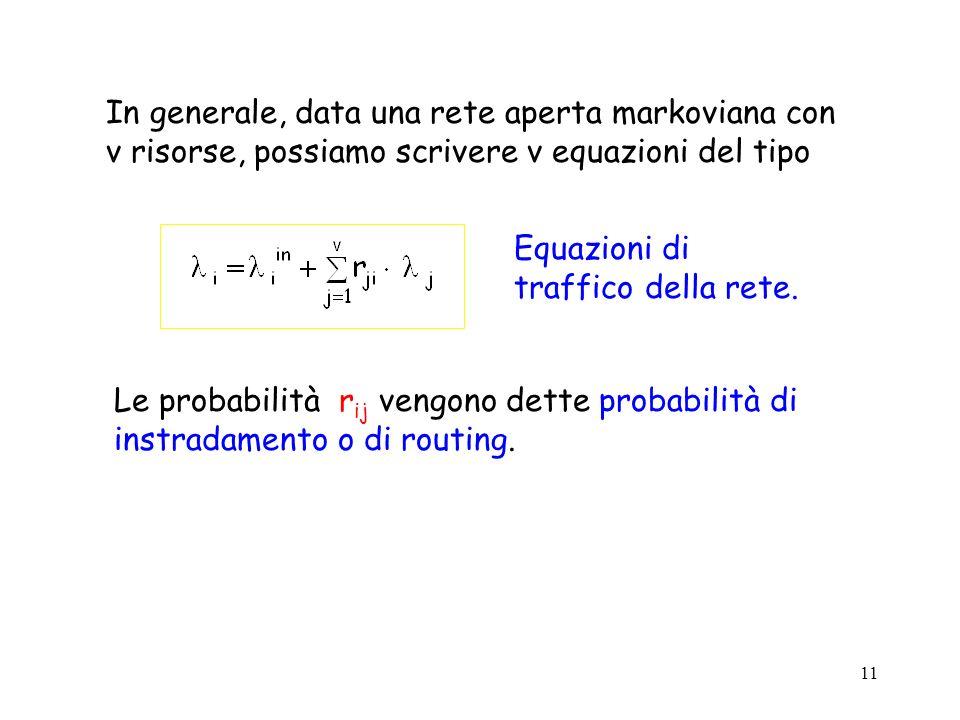 In generale, data una rete aperta markoviana con v risorse, possiamo scrivere v equazioni del tipo