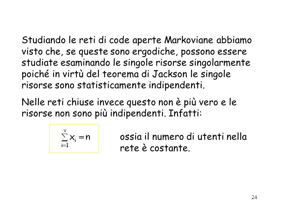 Studiando le reti di code aperte Markoviane abbiamo visto che, se queste sono ergodiche, possono essere studiate esaminando le singole risorse singolarmente poiché in virtù del teorema di Jackson le singole risorse sono statisticamente indipendenti.