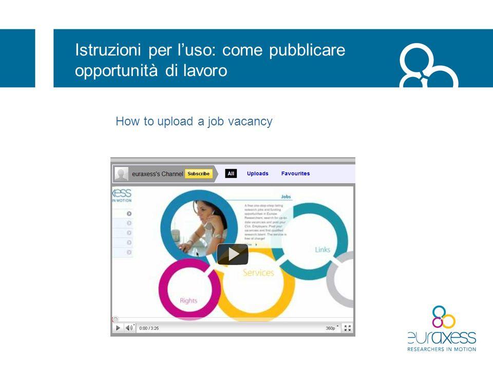 Istruzioni per l'uso: come pubblicare opportunità di lavoro