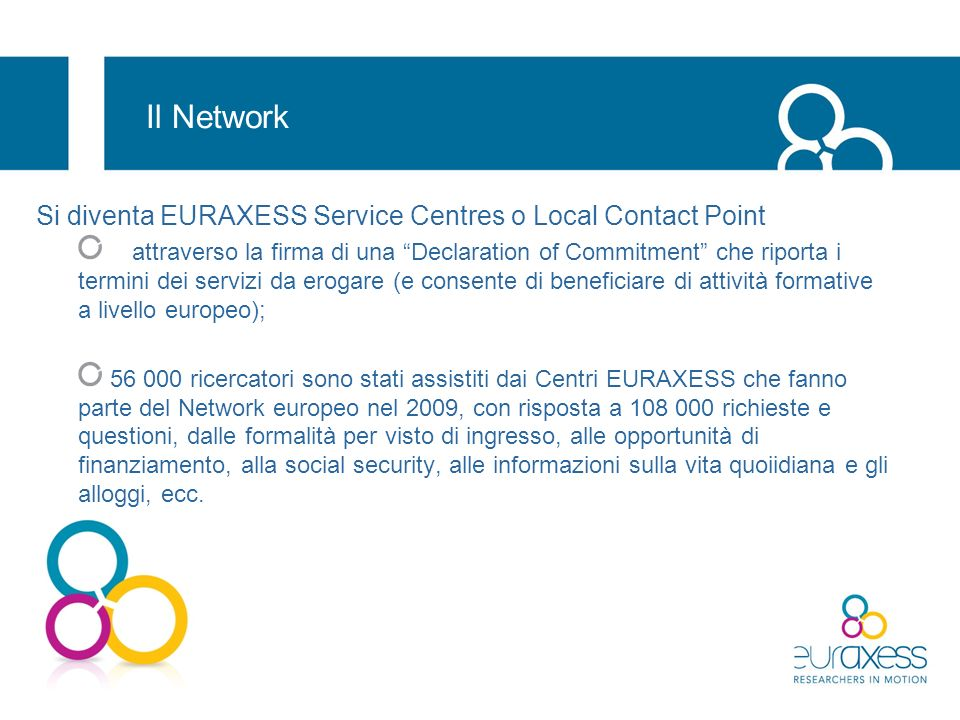 Il Network Si diventa EURAXESS Service Centres o Local Contact Point