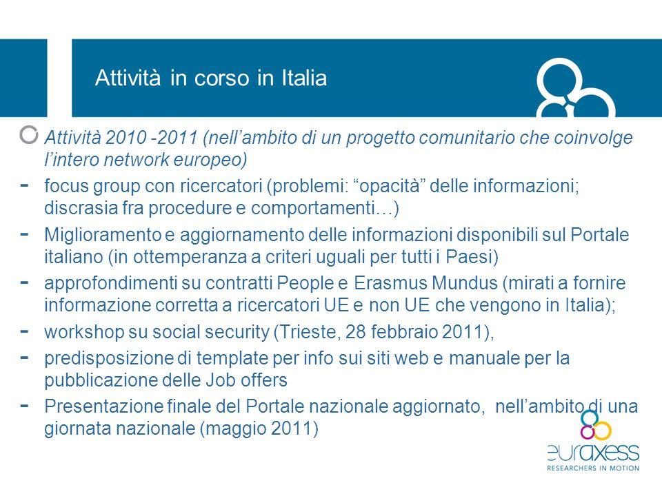 Attività in corso in Italia