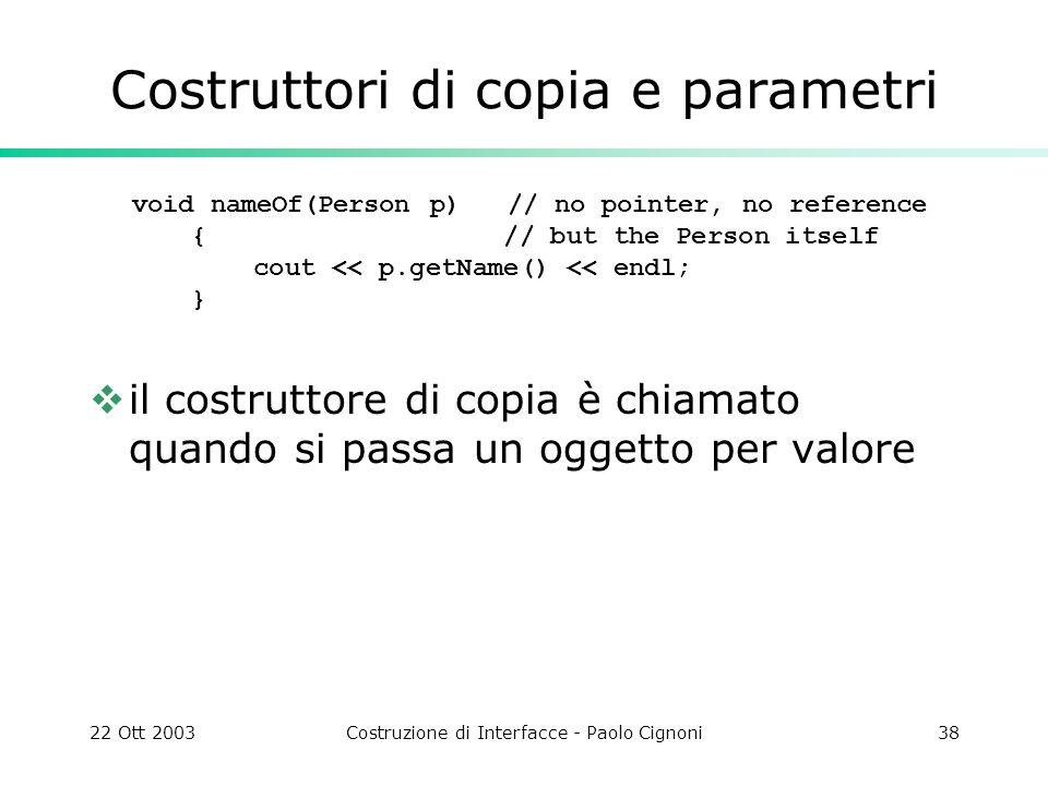 Costruttori di copia e parametri