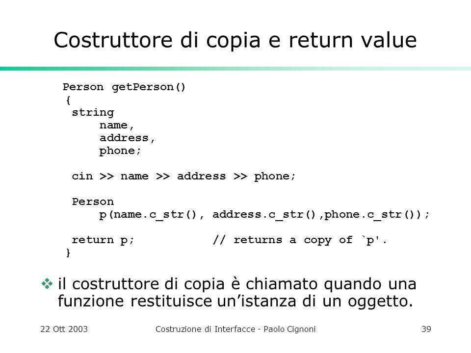 Costruttore di copia e return value