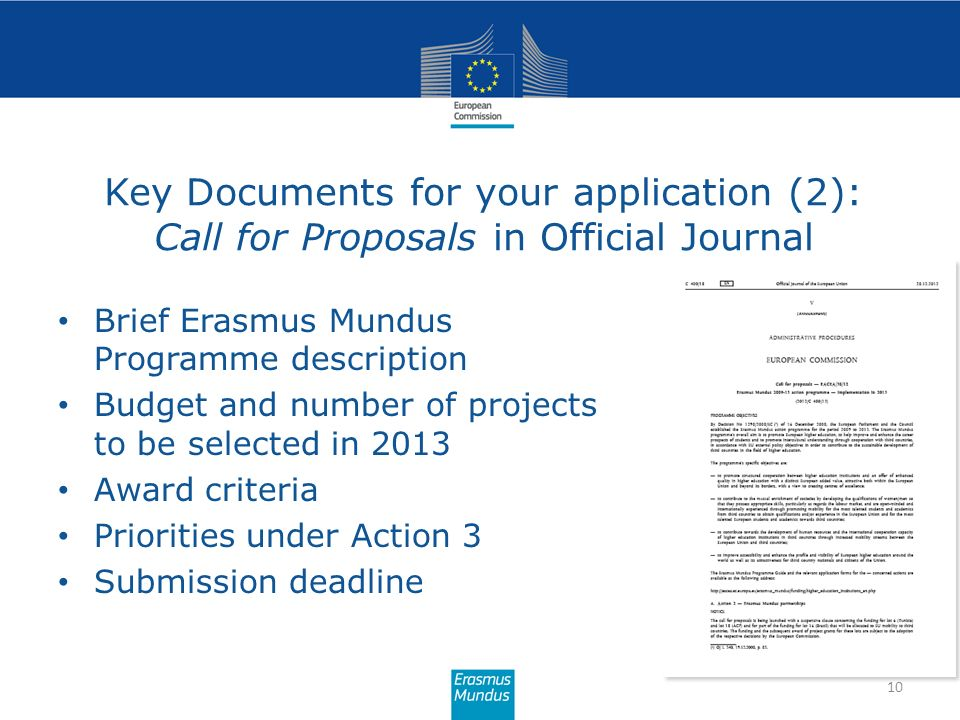 Key Documents for your application (2): Call for Proposals in Official Journal
