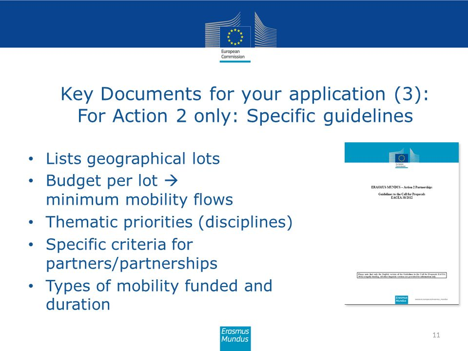 Key Documents for your application (3): For Action 2 only: Specific guidelines