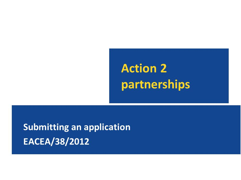 Action 2 partnerships Submitting an application EACEA/38/2012