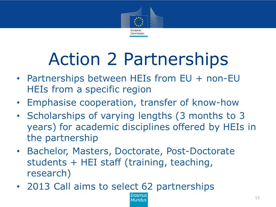 Action 2 Partnerships Partnerships between HEIs from EU + non-EU HEIs from a specific region. Emphasise cooperation, transfer of know-how.