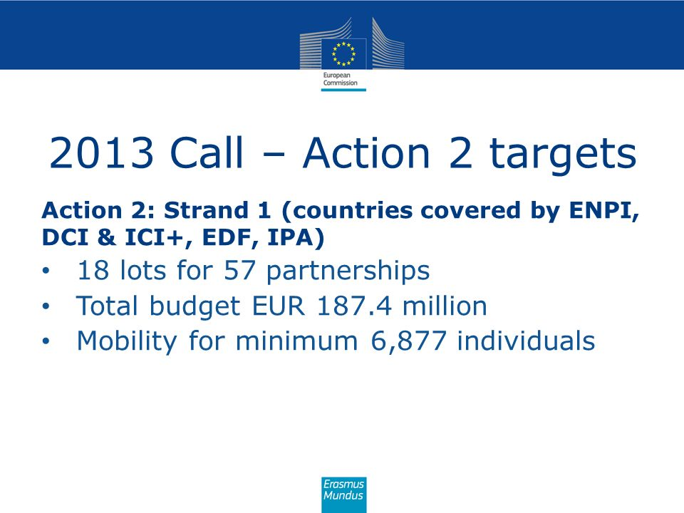 2013 Call – Action 2 targets 18 lots for 57 partnerships