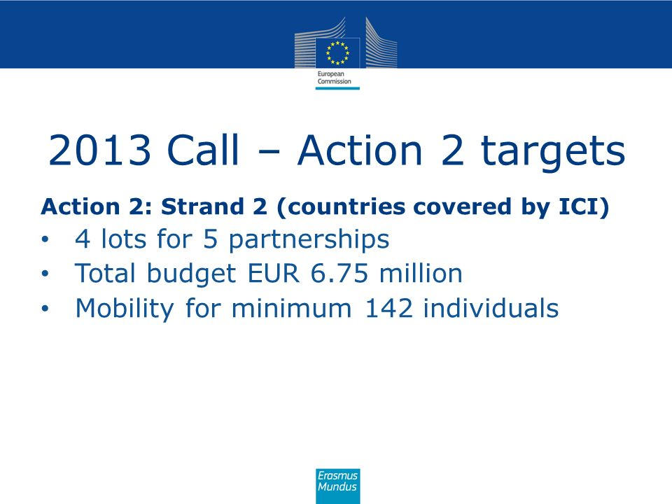 2013 Call – Action 2 targets 4 lots for 5 partnerships