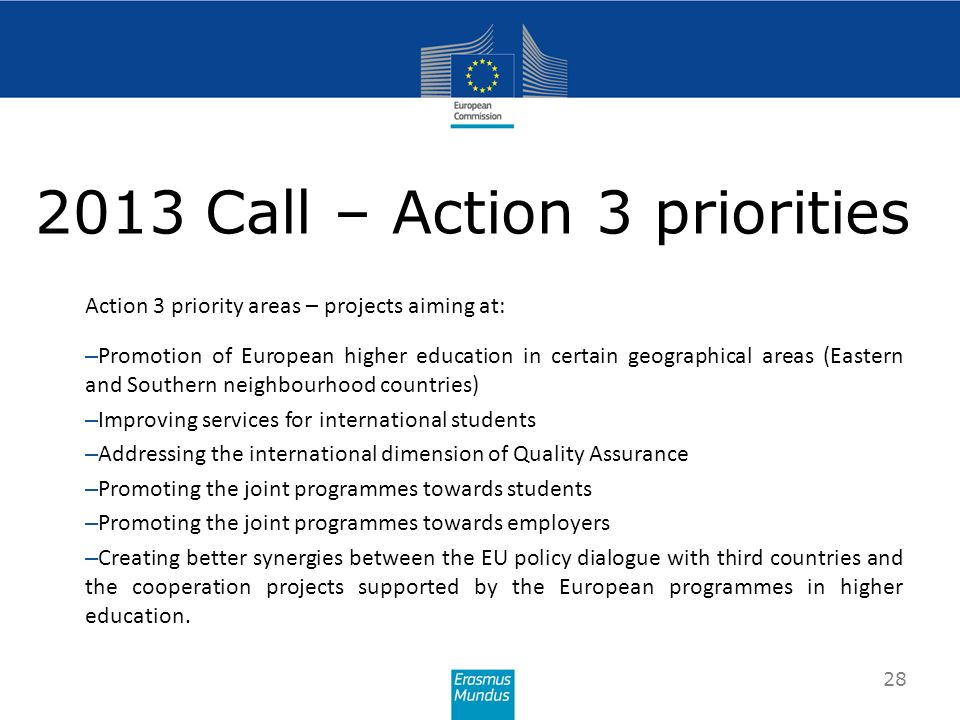 2013 Call – Action 3 priorities