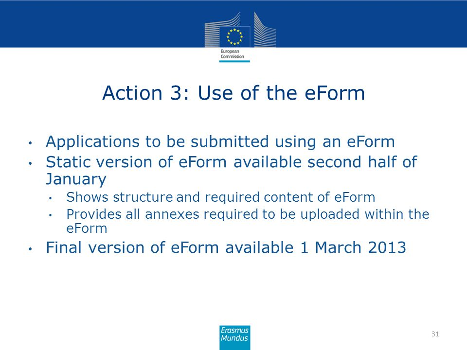 Action 3: Use of the eForm