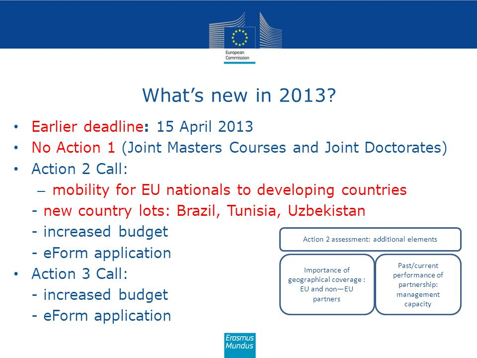 What's new in 2013 Earlier deadline: 15 April 2013