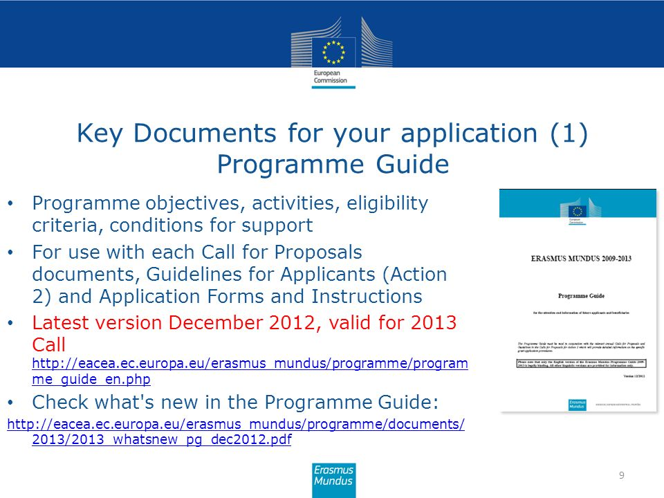 Key Documents for your application (1) Programme Guide