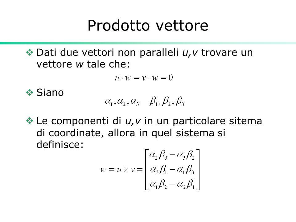 Prodotto vettore Dati due vettori non paralleli u,v trovare un vettore w tale che: Siano.