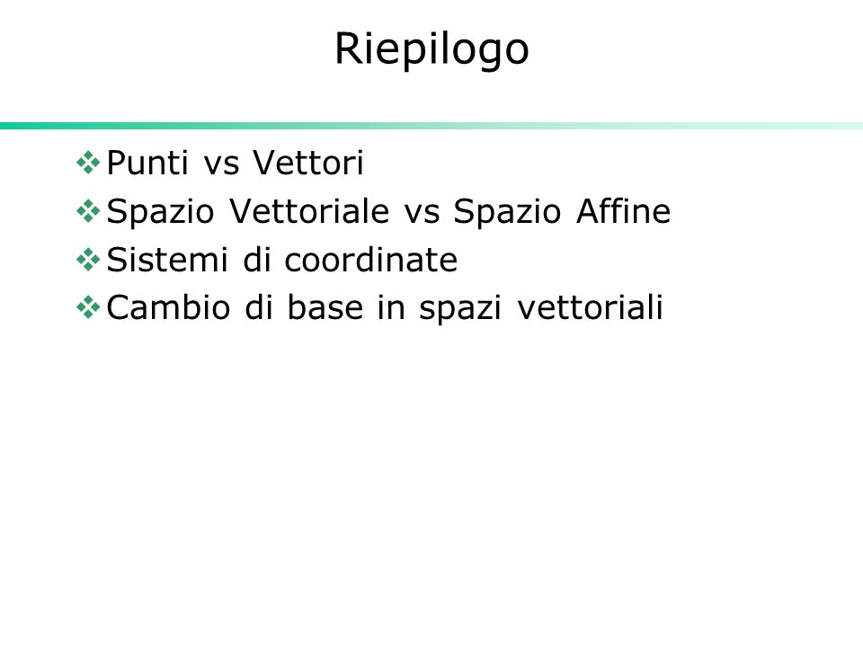 Riepilogo Punti vs Vettori Spazio Vettoriale vs Spazio Affine