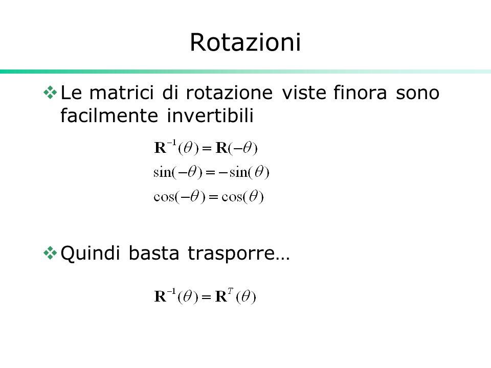 Rotazioni Le matrici di rotazione viste finora sono facilmente invertibili Quindi basta trasporre…