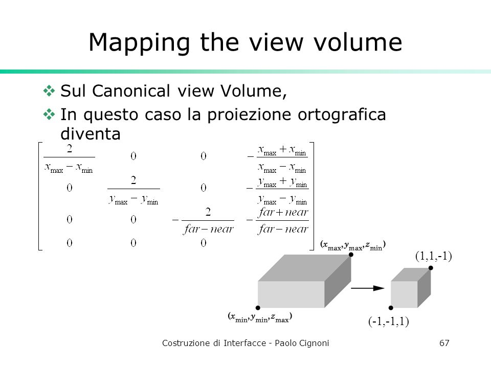 Mapping the view volume