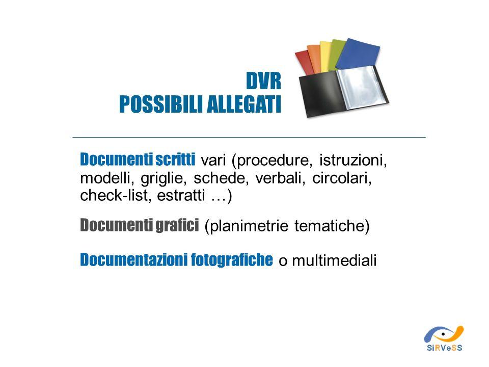 DVR POSSIBILI ALLEGATI Documenti scritti vari (procedure, istruzioni,