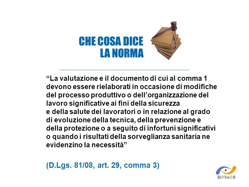 CHE COSA DICE LA NORMA (D.Lgs. 81/08, art. 29, comma 3)