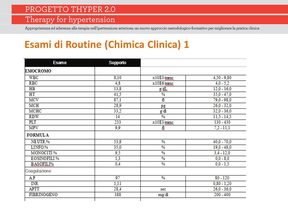 Esami di Routine (Chimica Clinica) 1
