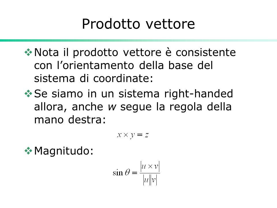 Prodotto vettore Nota il prodotto vettore è consistente con l'orientamento della base del sistema di coordinate: