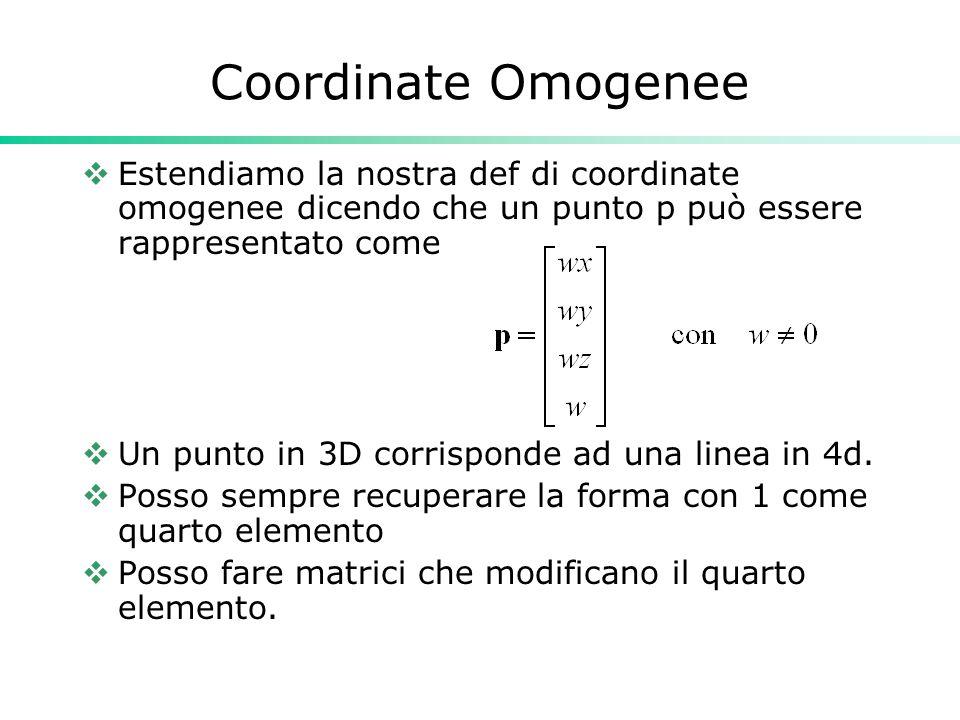 Coordinate Omogenee Estendiamo la nostra def di coordinate omogenee dicendo che un punto p può essere rappresentato come.