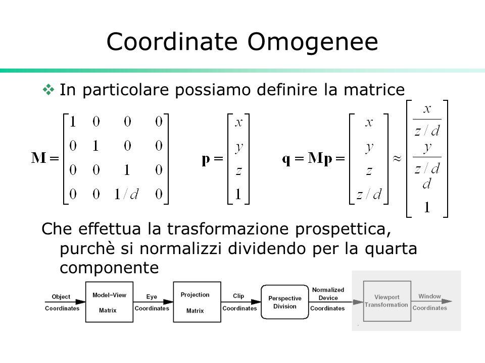 Coordinate Omogenee In particolare possiamo definire la matrice