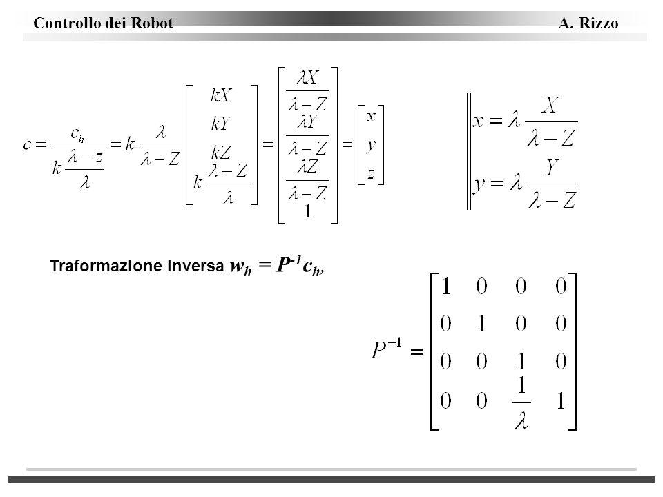Traformazione inversa wh = P-1ch,