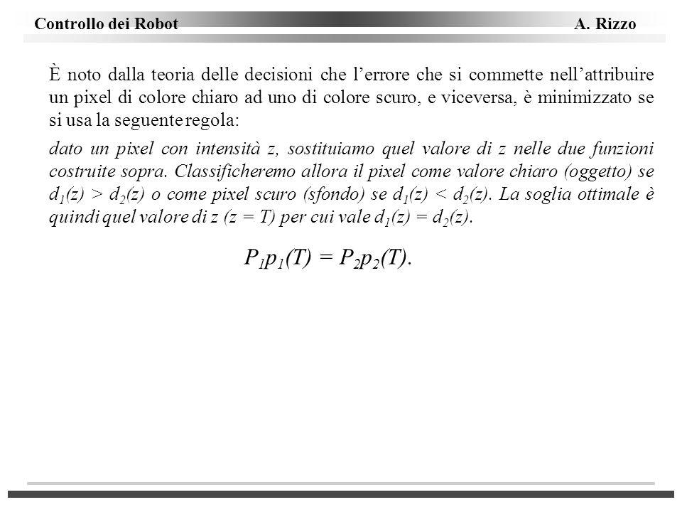 È noto dalla teoria delle decisioni che l'errore che si commette nell'attribuire un pixel di colore chiaro ad uno di colore scuro, e viceversa, è minimizzato se si usa la seguente regola: