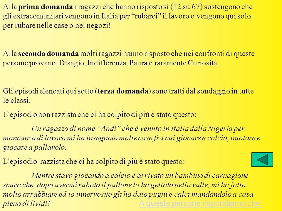 Alla prima domanda i ragazzi che hanno risposto sì (12 su 67) sostengono che gli extracomunitari vengono in Italia per rubarci il lavoro o vengono qui solo per rubare nelle case o nei negozi!