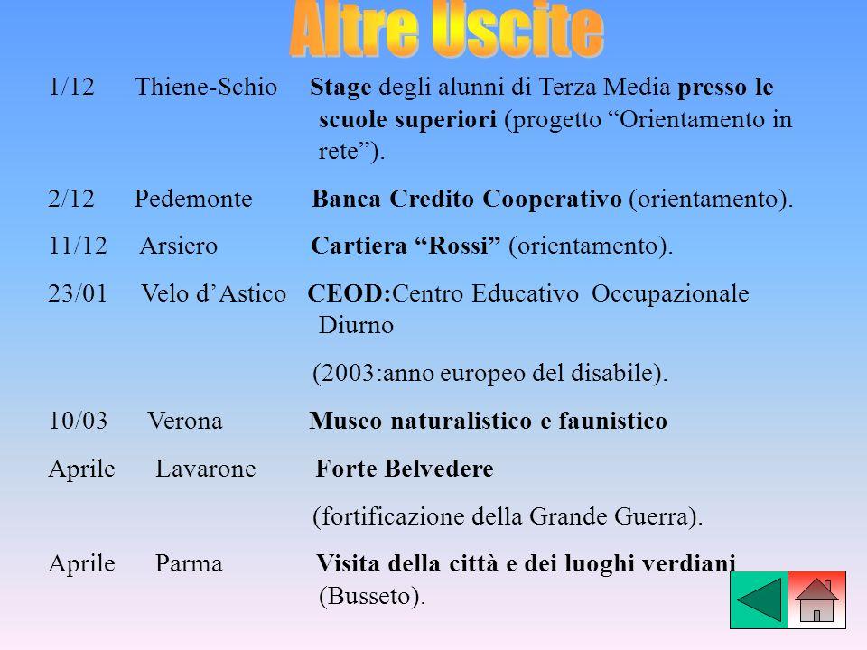 Altre Uscite 1/12 Thiene-Schio Stage degli alunni di Terza Media presso le scuole superiori (progetto Orientamento in rete ).