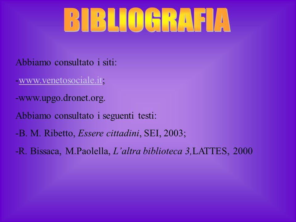 BIBLIOGRAFIA Abbiamo consultato i siti: www.venetosociale.it;