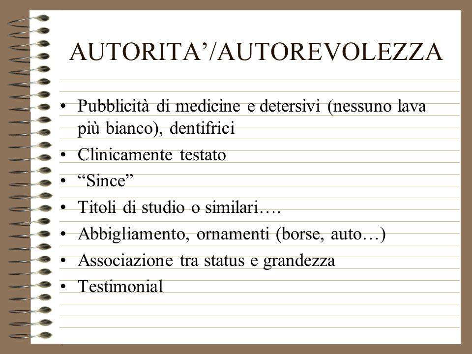 AUTORITA'/AUTOREVOLEZZA