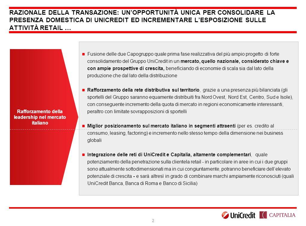 Rafforzamento della leadership nel mercato italiano